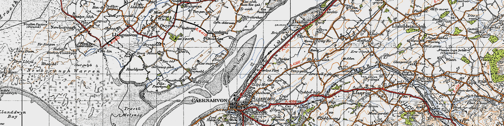 Old map of Afon Cadnant in 1947