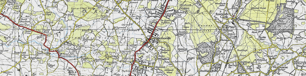 Old map of Waterlooville in 1945