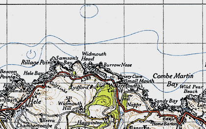 Old map of Widmouth Head in 1946