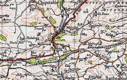 Old map of Waterrow in 1946