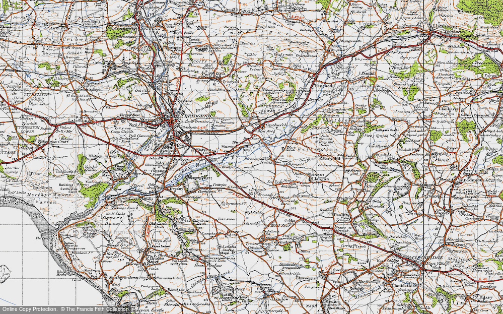 Old Map of Historic Map covering Brocastle in 1947