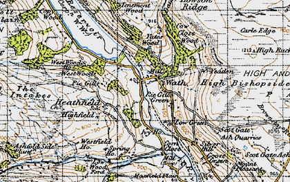 Old map of Yeadon Crag in 1947