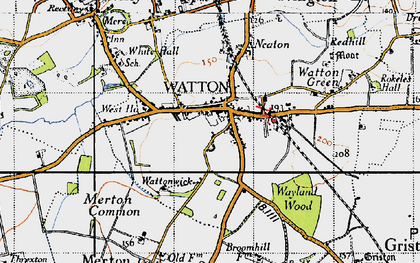 Old map of Watton in 1946