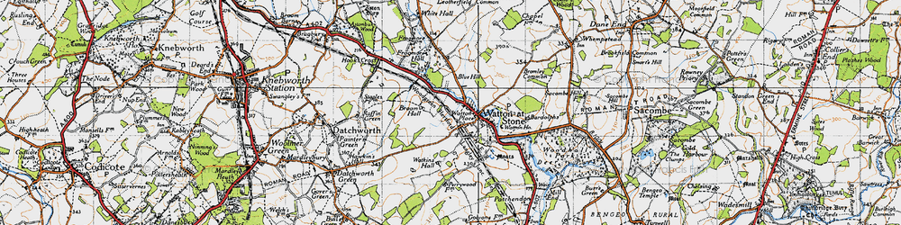 Old map of Watton at Stone in 1946