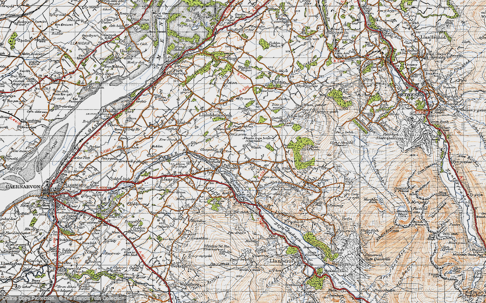 Old Map of Historic Map covering Bach yr Hilfry in 1947