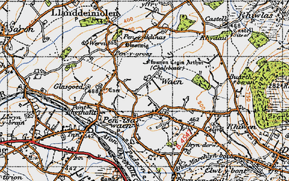 Old map of Bach yr Hilfry in 1947