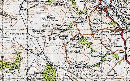 Old map of Y Bwlwarcau in 1947