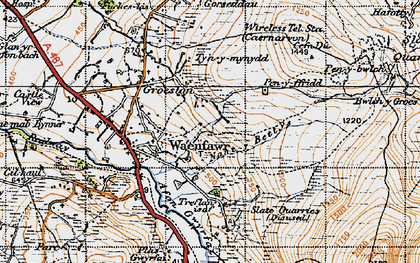 Old map of Waunfawr in 1947