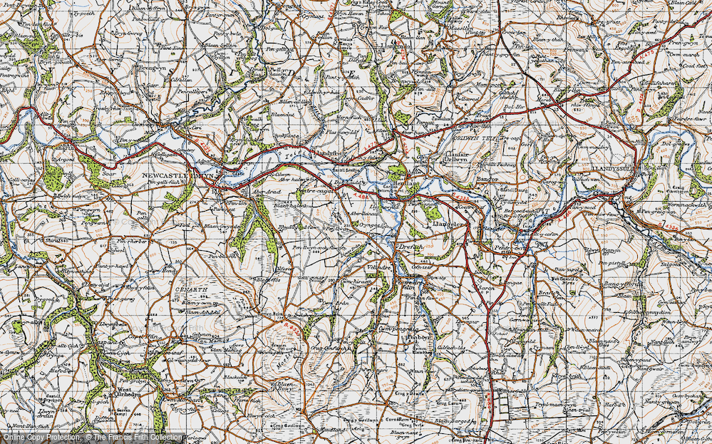 Old Map of Historic Map covering Aberlleinau in 1947
