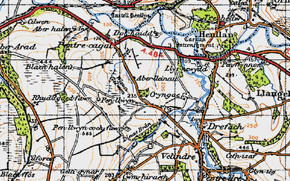 Old map of Aberlleinau in 1947