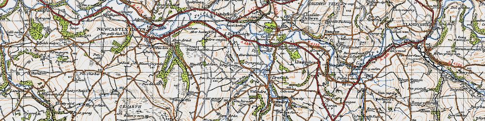 Old map of Aberlleinau in 1947