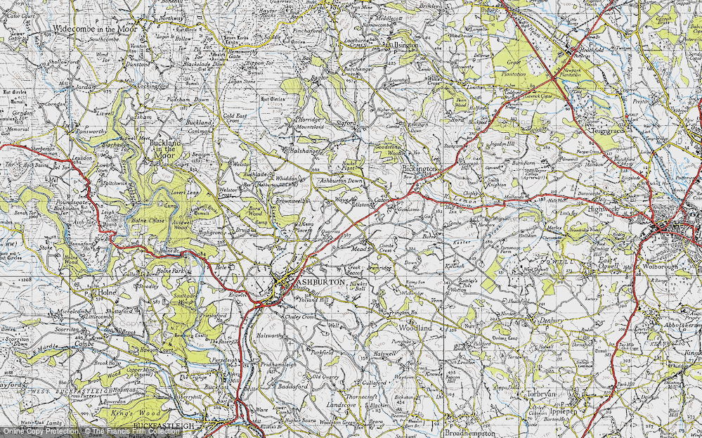 Old Map of Historic Map covering Ashburton Down in 1946