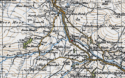 Old map of Wearhead in 1947