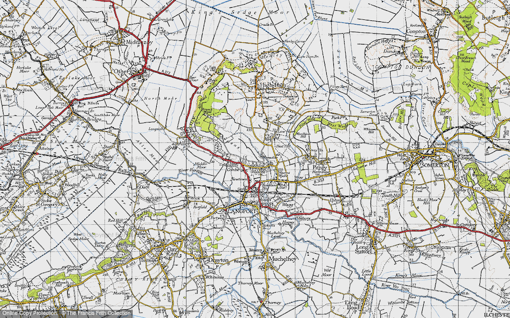 Old Map of Wearne, 1945 in 1945