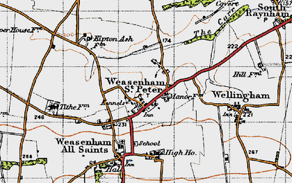 Old map of Weasenham St Peter in 1946