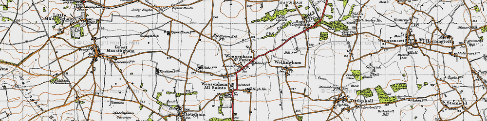 Old map of West Raynham Airfield in 1946