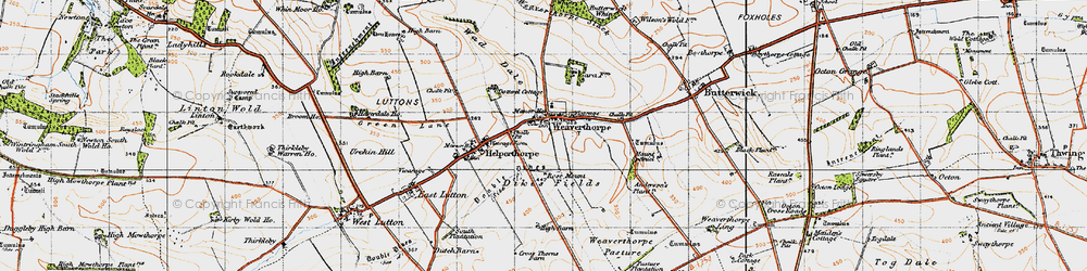 Old map of Weaverthorpe in 1947