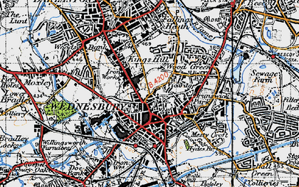 Old map of Wednesbury in 1946