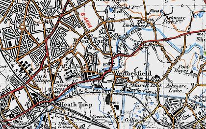 Old map of Wednesfield in 1946