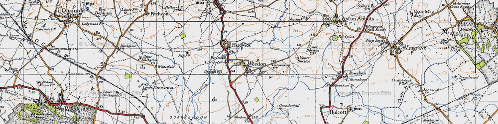 Old map of Weedon in 1946