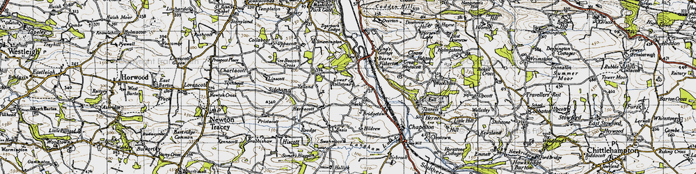 Old map of Yelland in 1946