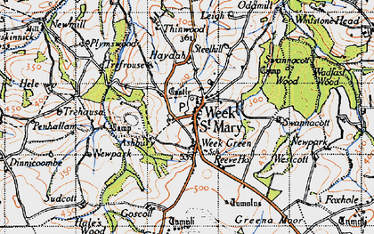 Old map of Week St Mary in 1946