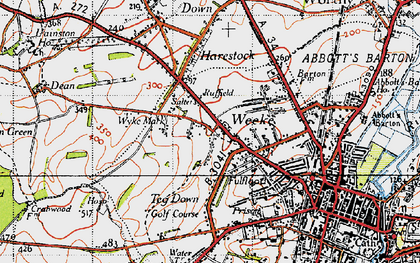 Old map of Weeke in 1945