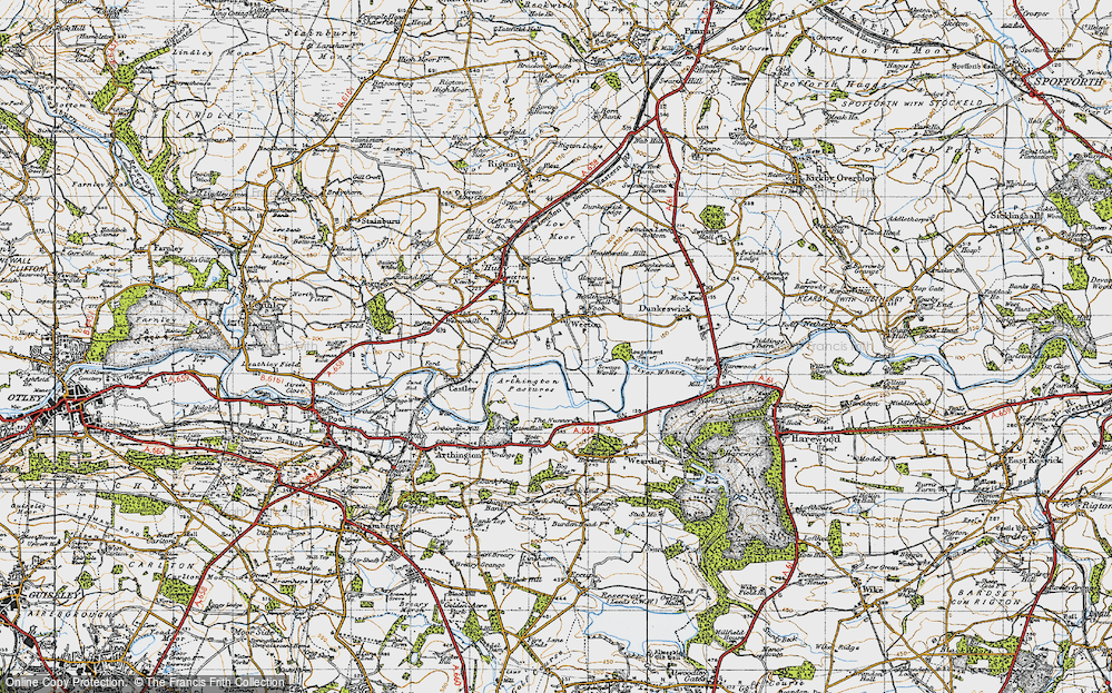 Old Map of Historic Map covering Arthington Pastures in 1947