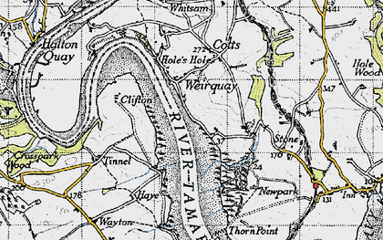 Old map of Weir Quay in 1946