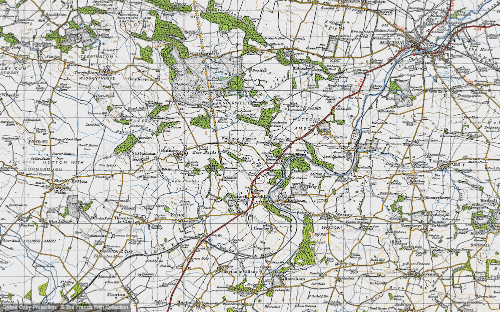 Old Map of Welburn, 1947 in 1947