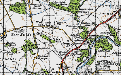 Old map of Welburn in 1947