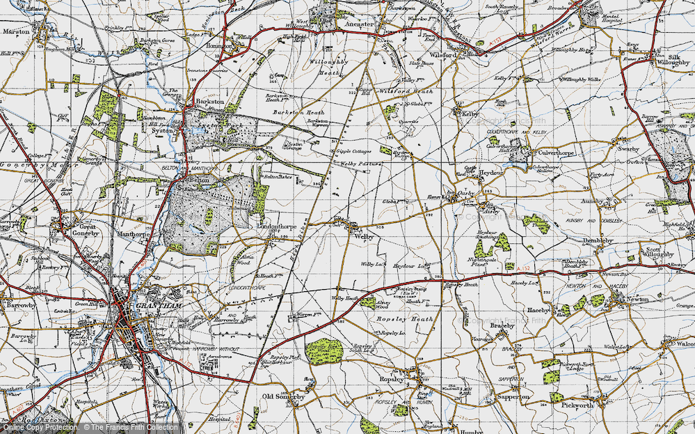 Old Map of Historic Map covering Abney Wood in 1946