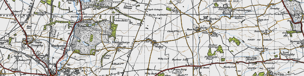 Old map of Abney Wood in 1946