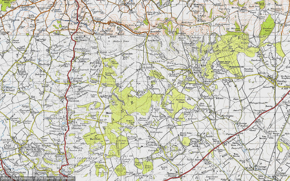 Old Map of Historic Map covering Ashmore Wood in 1940