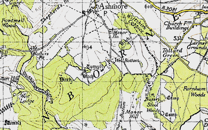 Old map of Ashmore Wood in 1940