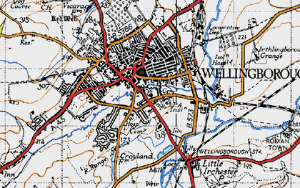 Old map of Wellingborough in 1946