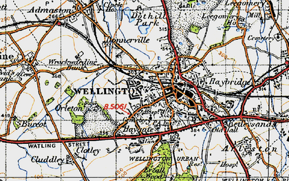 Old map of Wellington in 1947