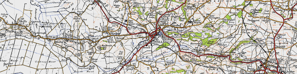 Old map of Wells in 1946