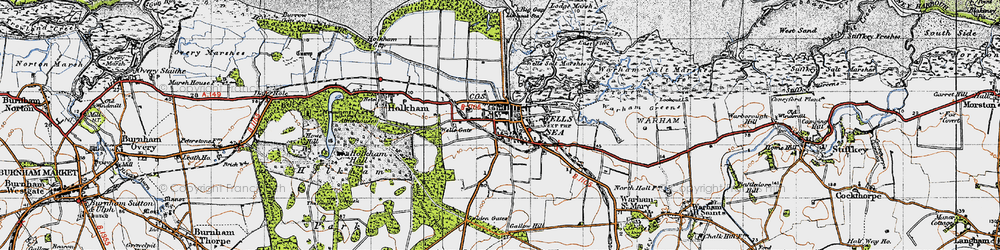 Old map of Wells-Next-The-Sea in 1946