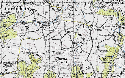 Old map of Welltown in 1946