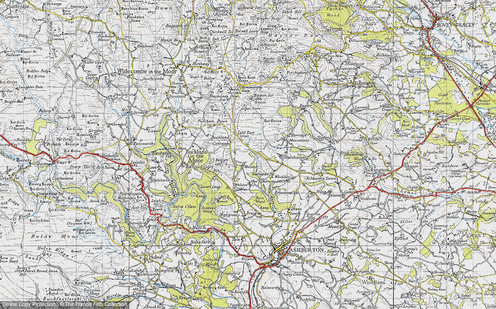 Old Map of Historic Map covering Ausewell Cross in 1946