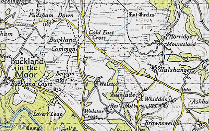 Old map of Ausewell Cross in 1946
