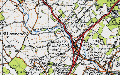 Old map of Welwyn in 1946