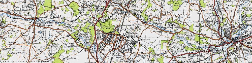 Old map of Welwyn Garden City in 1946
