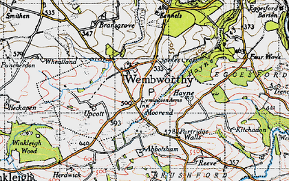 Old map of Abbotsham in 1946
