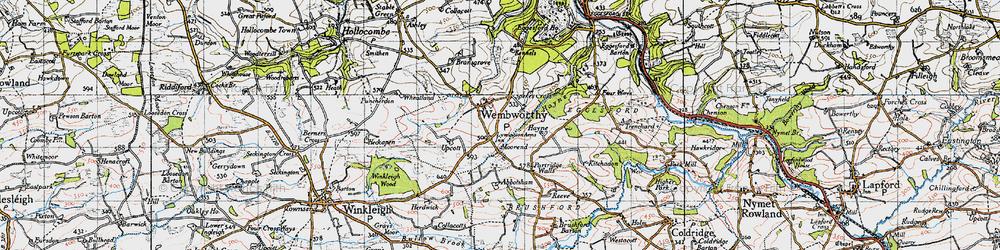 Old map of Abbotsham in 1946