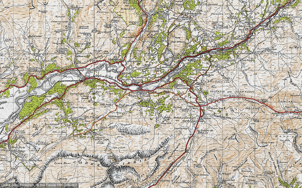 Old Map of Historic Map covering Afon Arran in 1947