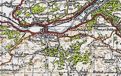 Old map of Afon Arran in 1947