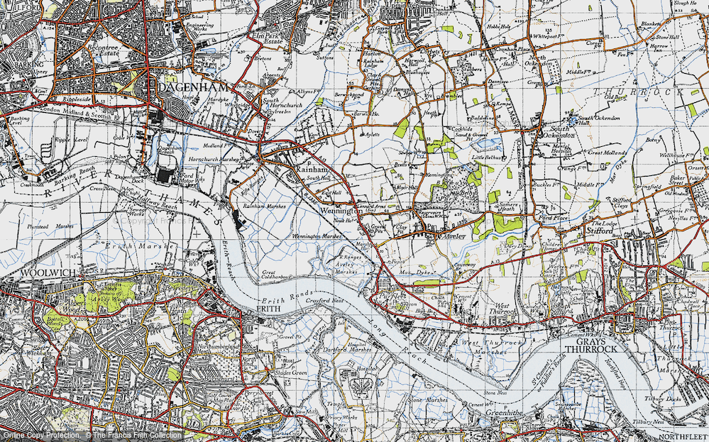 Old Map of Historic Map covering Aveley Marshes in 1946