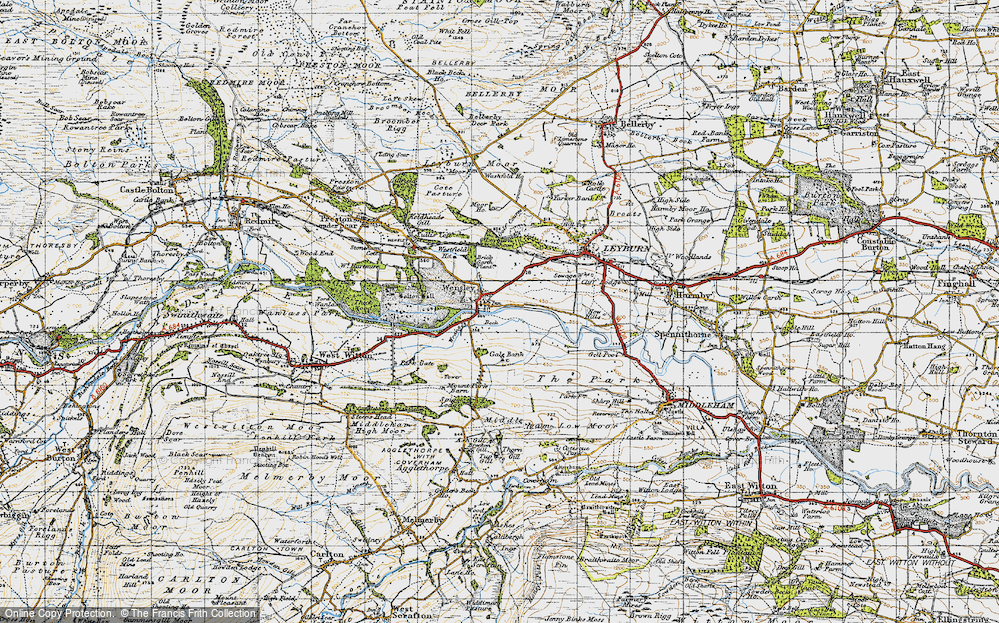 Old Map of Historic Map covering Leyburn Shawl in 1947
